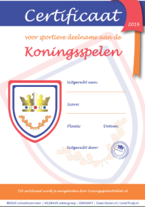 placemat Koningsspelen