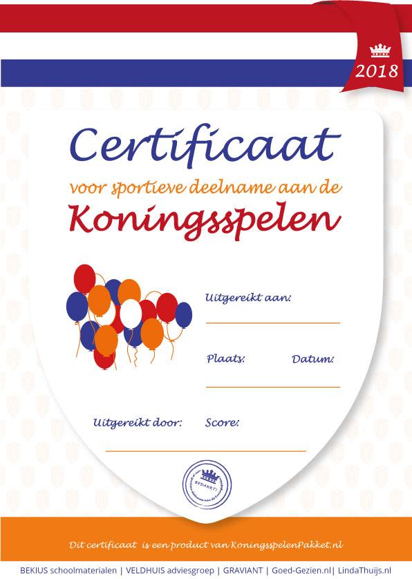 certificaat koningsspelen 2018